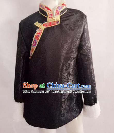 Traditional Chinese Tibetan Nationality Costume, Zang Ethnic Minority Black Coat for Women
