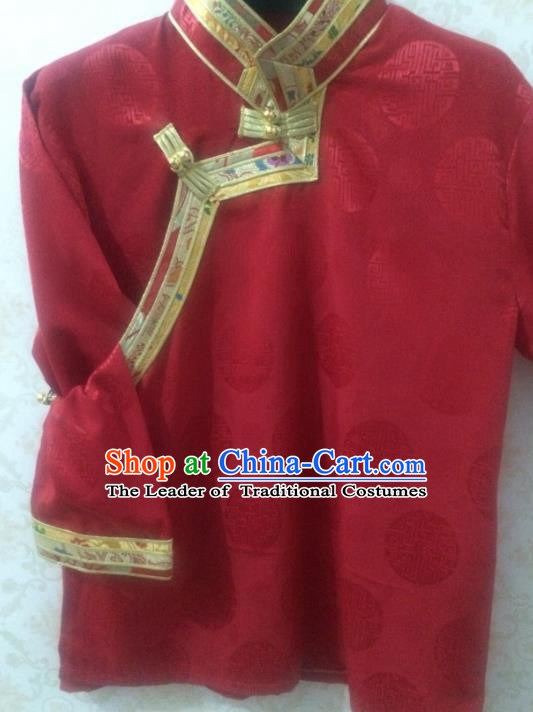 Chinese Tibetan Nationality Costume Blouse, Traditional Zang Ethnic Minority Red Shirts for Women
