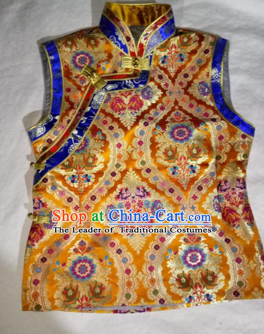 Chinese Tibetan Nationality Costume Golden Vest, Traditional Zang Ethnic Minority Waistcoat for Women