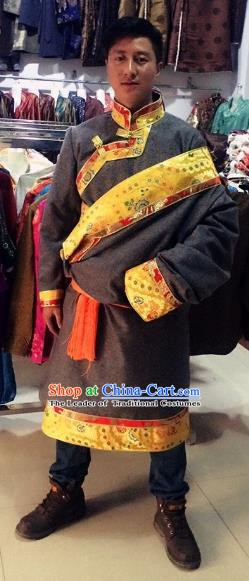 Traditional Chinese Zang Nationality Costume, Tibetan Ethnic Minority Robe for Men