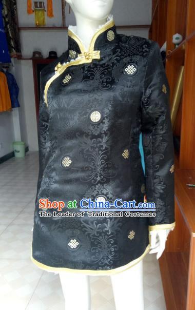 Chinese Tibetan Nationality Costume Black Cotton-padded Jacket, Traditional Zang Ethnic Minority Coat for Women