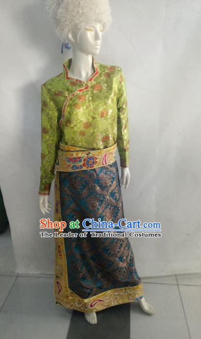 Chinese Tibetan Nationality Costume Green Dress, Traditional Zang Ethnic Minority Clothing for Women