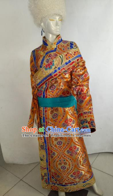Chinese Tibetan Nationality Costume Golden Tibetan Robe, Traditional Zang Ethnic Minority Clothing for Women