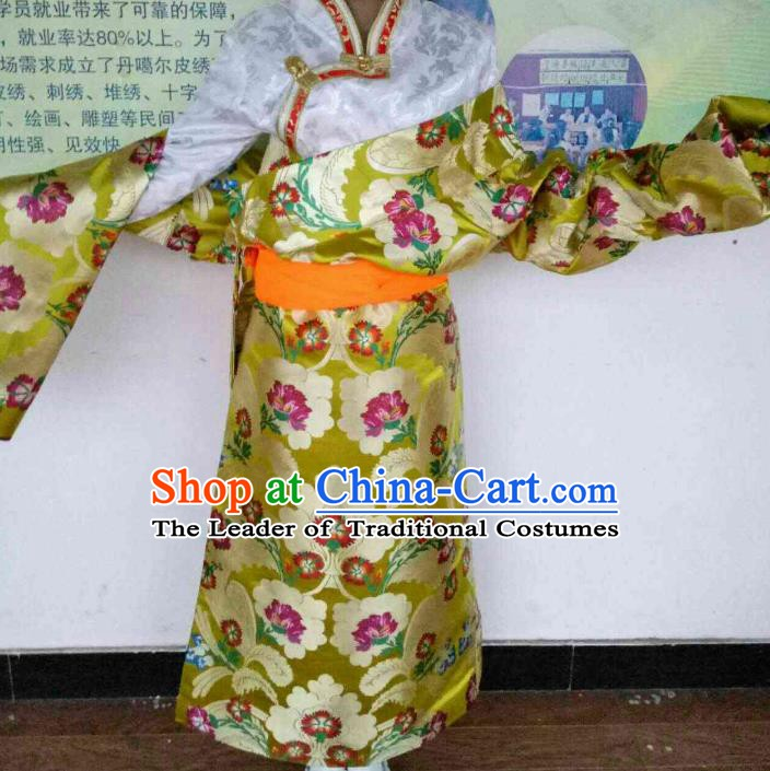 Chinese Tibetan Nationality Costume Yellow Robe, Traditional Zang Ethnic Minority Clothing for Women