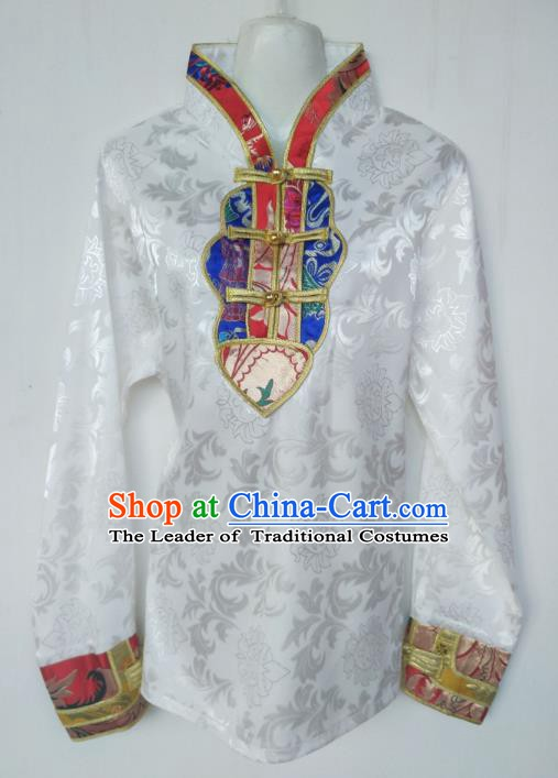 Traditional Chinese Tibetan Nationality Guozhuang Dance Costume, Zang Ethnic Minority White Blouse for Women