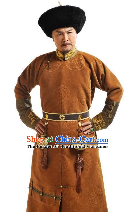 Ancient Chinese Qing Dynasty Emperor Kangxi Historical Costume Manchu Monarch Clothing for Men