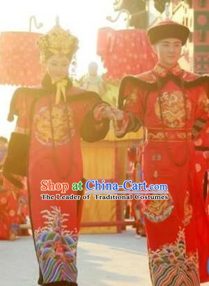 Chinese Late Qing Dynasty Last Emperor Puyi and Empress Replica Costumes Traditional Wedding Historical Costume Complete Set