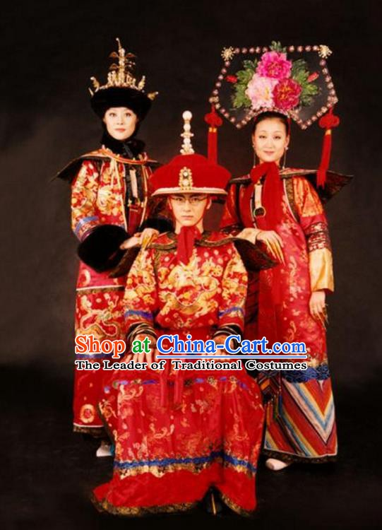 Chinese Late Qing Dynasty Last Emperor and Empress Empress Dowager Cixi Replica Costumes Complete Set