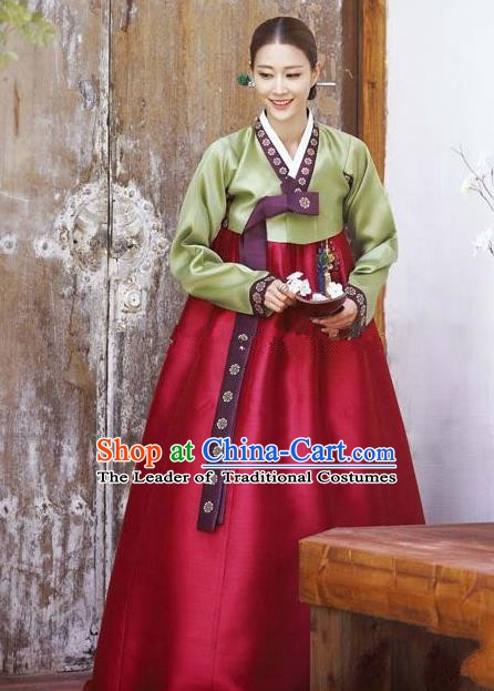 Korean Traditional Bride Hanbok Clothing Green Blouse and Wine Red Dress Korean Fashion Apparel Costumes for Women