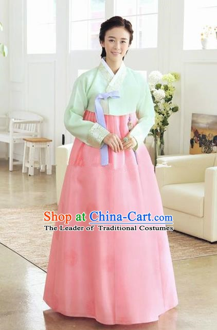 Korean Traditional Bride Hanbok Clothing Green Blouse and Pink Dress Korean Fashion Apparel Costumes for Women