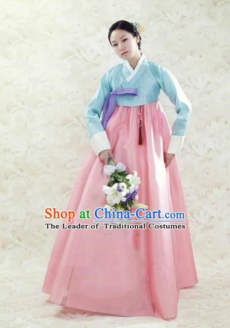 Korean Traditional Bride Hanbok Clothing Blue Blouse and Pink Dress Korean Fashion Apparel Costumes for Women