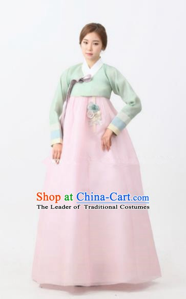 Korean Traditional Bride Palace Hanbok Clothing Green Blouse and Pink Dress Korean Fashion Apparel Costumes for Women