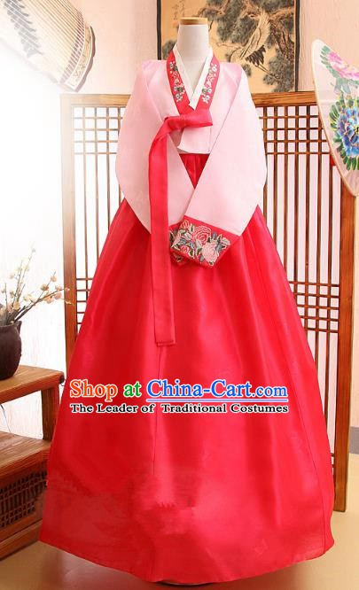 Korean Traditional Bride Palace Hanbok Clothing Pink Blouse and Red Dress Korean Fashion Apparel Costumes for Women