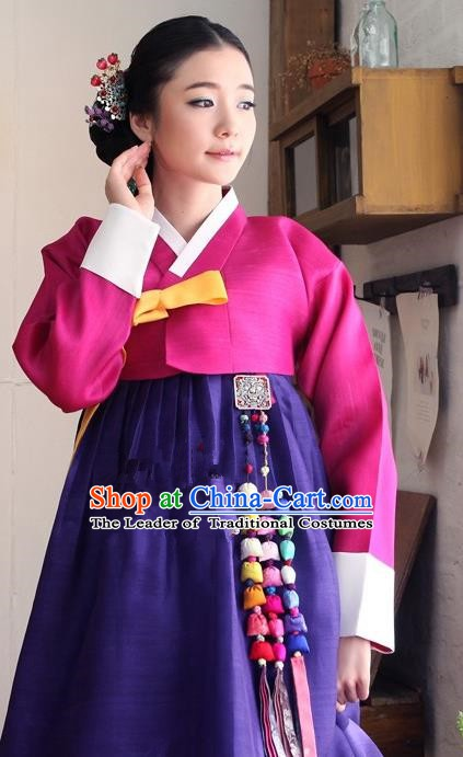 Korean Traditional Bride Palace Hanbok Clothing Rosy Blouse and Purple Dress Korean Fashion Apparel Costumes for Women