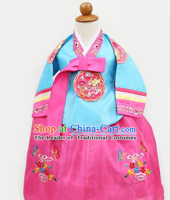 Korean Traditional Blue Hanbok Clothing Korean Children Fashion Apparel Hanbok Costumes for Kids