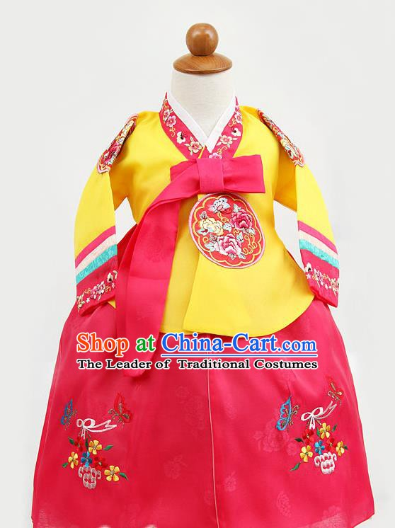 Korean Traditional Hanbok Clothing Korean Children Yellow Fashion Apparel Hanbok Costumes for Kids