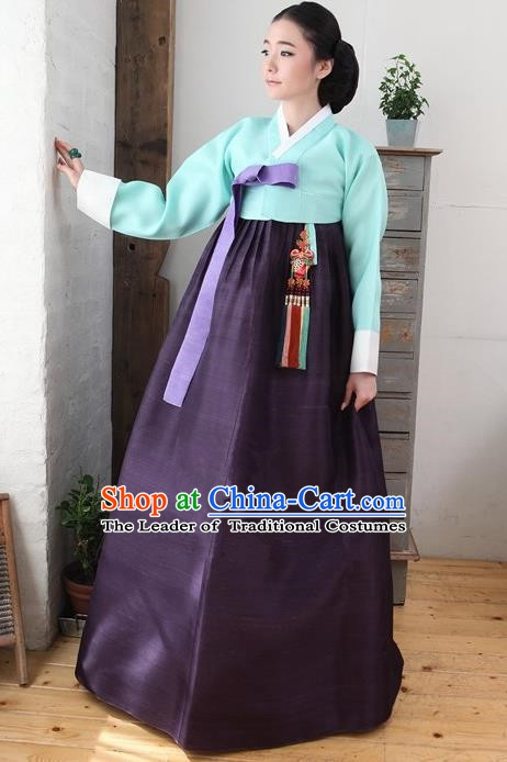 Korean Traditional Bride Palace Hanbok Clothing Green Blouse and Purple Dress Korean Fashion Apparel Costumes for Women