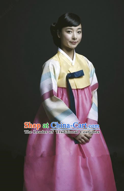 Korean Traditional Bride Palace Hanbok Clothing Korean Fashion Apparel Yellow Blouse and Pink Dress for Women