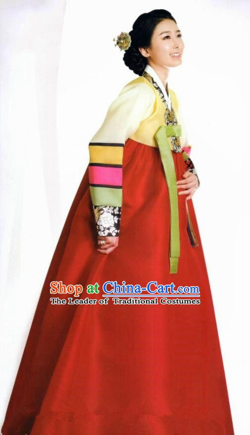 Korean Traditional Bride Palace Hanbok Clothing Korean Fashion Apparel Yellow Blouse and Red Dress for Women