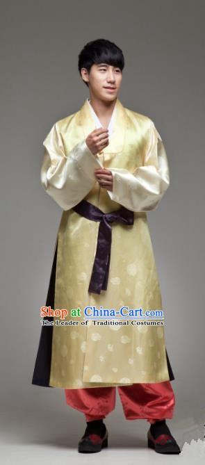 Asian Korean Traditional Palace Yellow Hanbok Clothing Ancient Bridegroom Korean Costume for Men