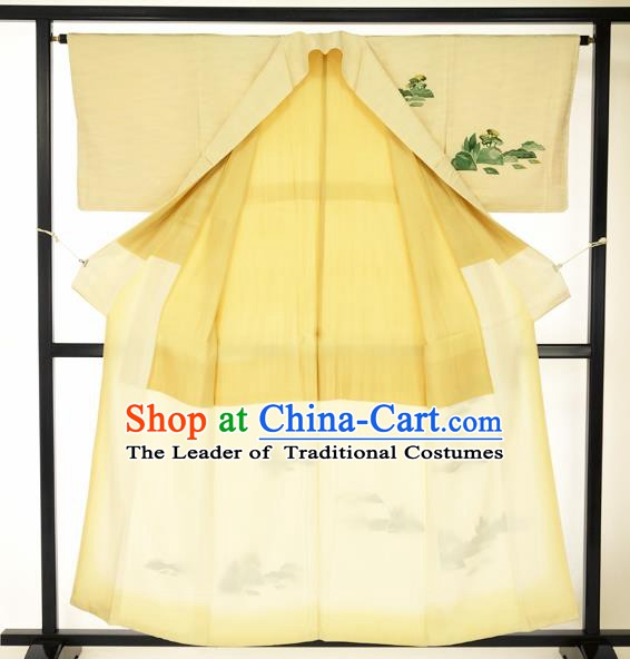 Japanese Ancient Male Yellow Kimono Costume Traditional Wafuku Hakama Haori Yukata for Men
