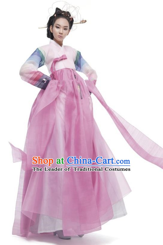 Korean Traditional Palace Clothing Empress Hanbok Pink Blouse and Dress Korea Fashion Apparel for Women