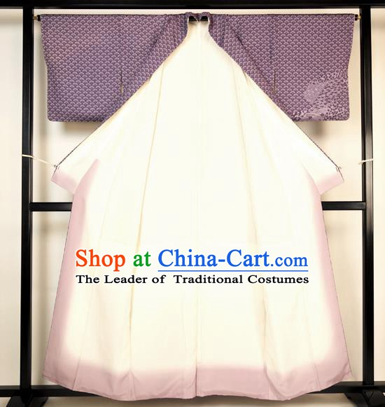 Japanese Ancient Male Kimono Costume Purple Yukata Robe Traditional Wafuku Hakama Haori for Men