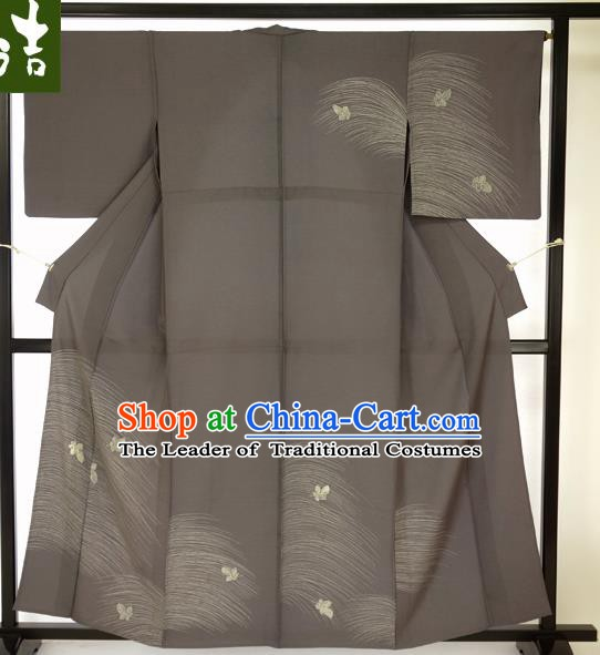 Japanese Ancient Male Grey Kimono Costume Traditional Wafuku Hakama Haori Yukata for Men