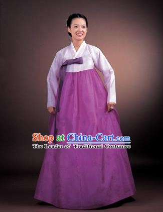 Korean Traditional Bride Palace Hanbok Clothing Lilac Blouse and Purple Dress Korean Fashion Apparel Costumes for Women