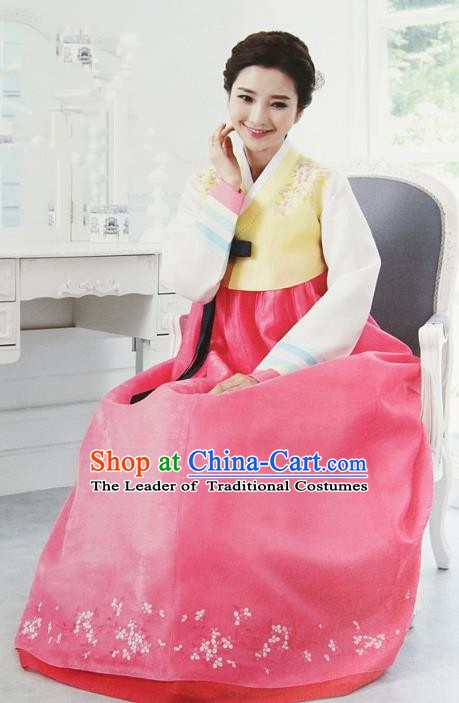 Korean Traditional Palace Clothing Hanbok Yellow Blouse and Pink Dress Korea Fashion Apparel for Women