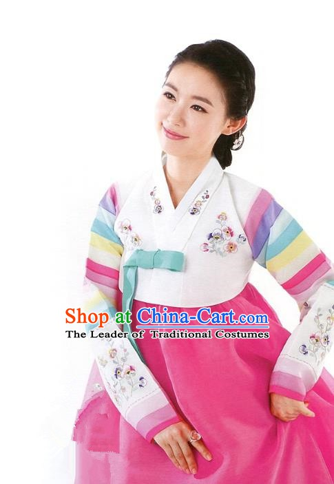 Korean Traditional Palace Clothing Hanbok White Blouse and Pink Dress Korea Fashion Apparel for Women