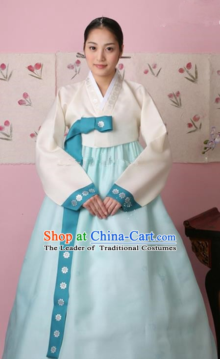 Korean Traditional Palace Clothing Hanbok Fashion Apparel White Blouse and Blue Dress for Women