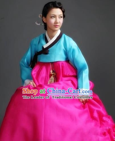 Korean Traditional Palace Garment Hanbok Fashion Apparel Costume Blue Blouse and Rosy Dress for Women