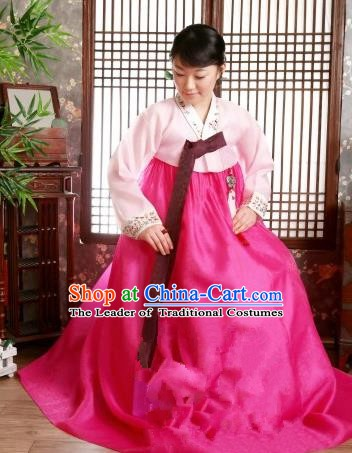 Korean Traditional Palace Garment Hanbok Fashion Apparel Costume Pink Blouse and Rosy Dress for Women