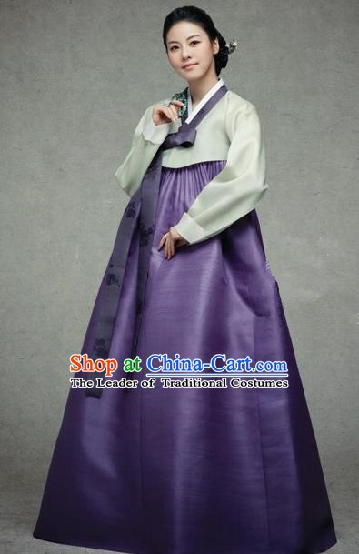 Korean Traditional Palace Garment Hanbok Fashion Apparel Costume Green Blouse and Purple Dress for Women