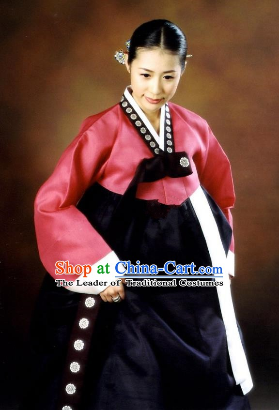 Korean Traditional Palace Garment Hanbok Fashion Apparel Costume Red Blouse and Navy Dress for Women