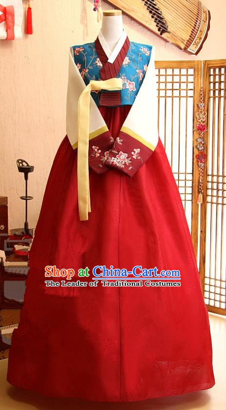 Korean Traditional Palace Garment Hanbok Fashion Apparel Costume Blue Blouse and Red Dress for Women