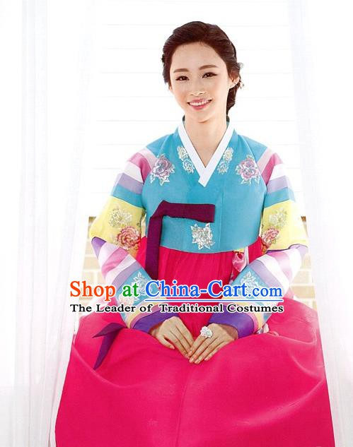 Korean Traditional Palace Garment Hanbok Fashion Apparel Costume Blue Embroidered Blouse and Pink Dress for Women