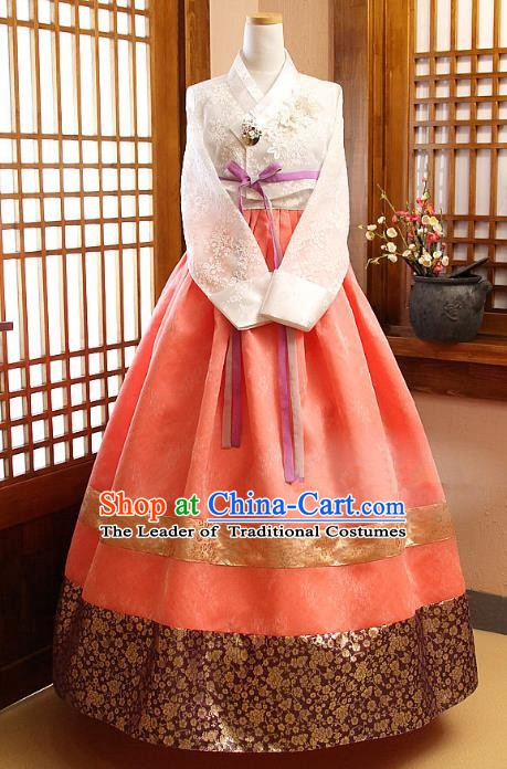 Korean Traditional Palace Garment Hanbok Fashion Apparel Costume Bride White Blouse and Orange Dress for Women