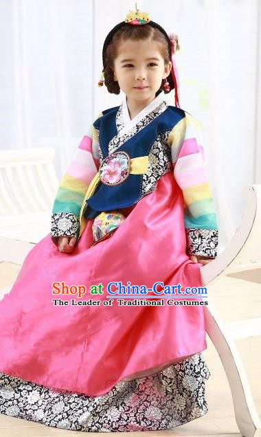 Korean Traditional Hanbok Korea Children Navy Blouse and Pink Dress Fashion Apparel Hanbok Costumes for Kids
