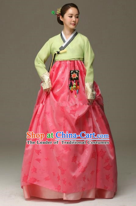 Korean Traditional Garment Palace Hanbok Fashion Apparel Costumes Bride Green Blouse and Dress for Women