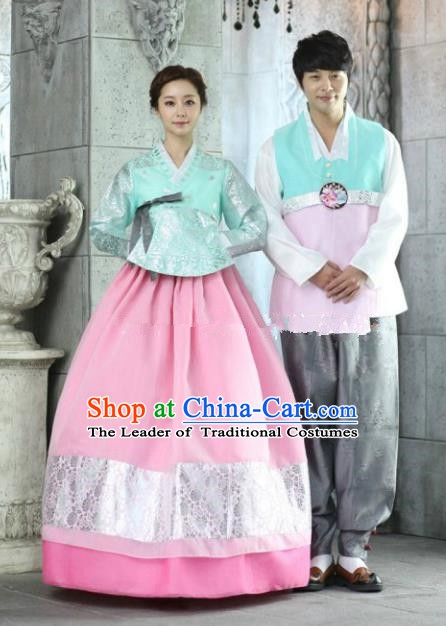 Korean Traditional Garment Palace Green Hanbok Fashion Apparel Bride and Bridegroom Costumes