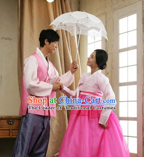 Korean Traditional Garment Palace Pink Hanbok Fashion Apparel Bride and Bridegroom Costumes