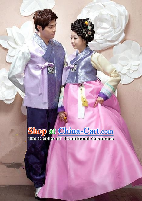 Korean Traditional Garment Palace Purple Hanbok Fashion Apparel Bride and Bridegroom Costumes