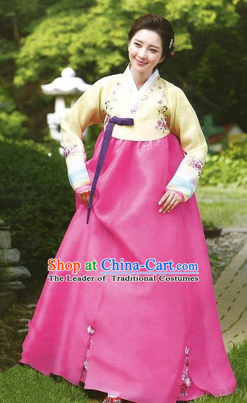 Korean Traditional Garment Palace Hanbok Yellow Blouse and Pink Dress Fashion Apparel Bride Costumes for Women