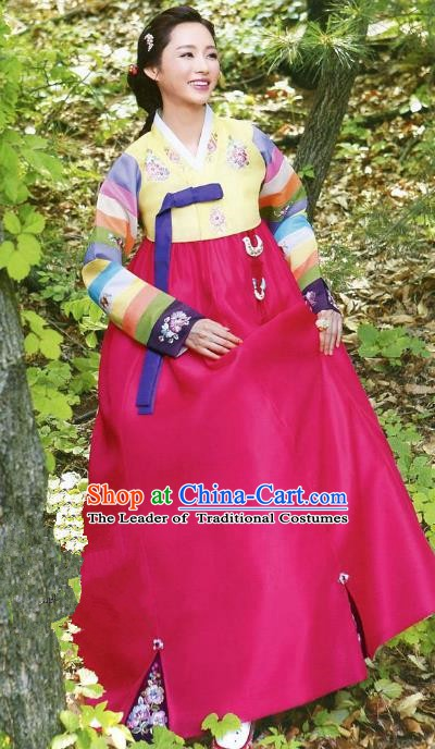 Korean Traditional Garment Palace Hanbok Yellow Blouse and Rosy Dress Fashion Apparel Bride Costumes for Women