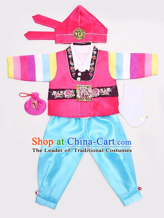 Korean Traditional Hanbok Clothing Korean Boys Hanbok Costumes Pink Shirt and Blue Pants for Kids