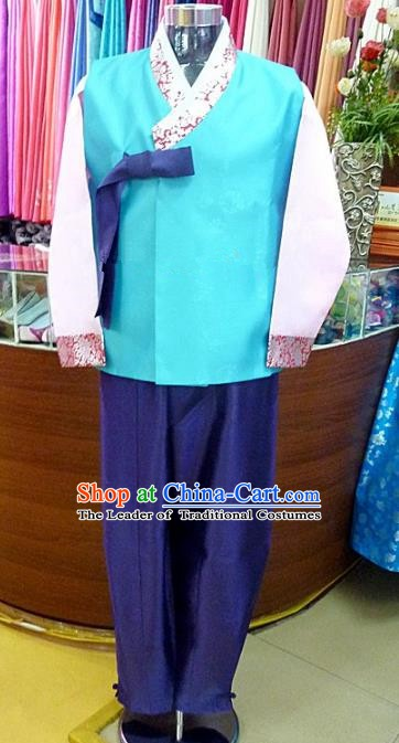 Asian Korean Traditional Hanbok Clothing Ancient Korean Blue Shirt and Royalblue Pants Costume for Men