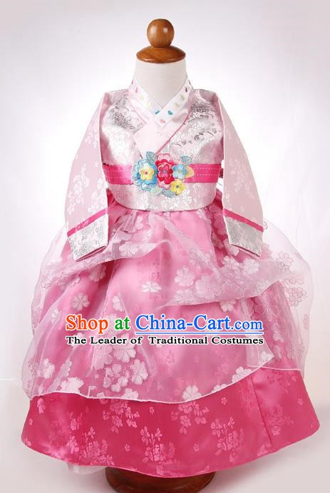 Korean Traditional Hanbok Korea Children Blouse and Pink Dress Fashion Apparel Hanbok Costumes for Kids