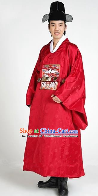 Asian Korean Traditional Hanbok Clothing Ancient Korean Emperor Costume Red Robe for Men